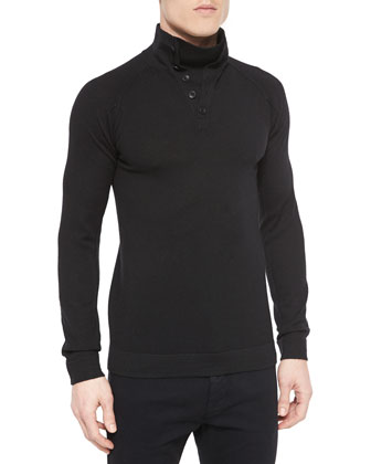 Funnel-Neck Long-Sleeve Wool Sweater & Leather Aviator Jacket