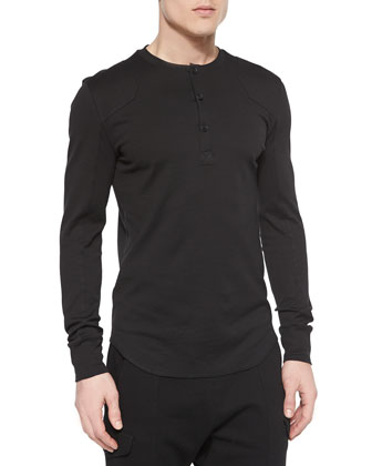 Long-Sleeve Jersey Knit Henley Tee, Black