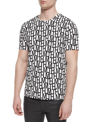 Allover Letter-Print Short-Sleeve Tee, White/Black