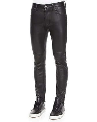 Stretch-Leather Skinny Pants, Black