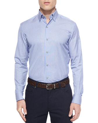 Striped Woven Sport Shirt, Blue