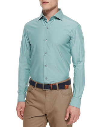 Solid Chambray Sport Shirt, Green