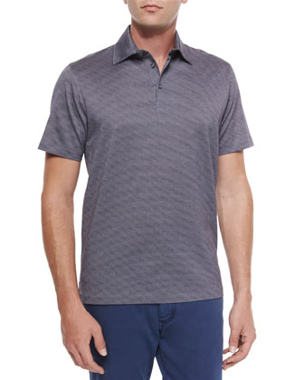 Circle-Print Short-Sleeve Polo Shirt, Purple