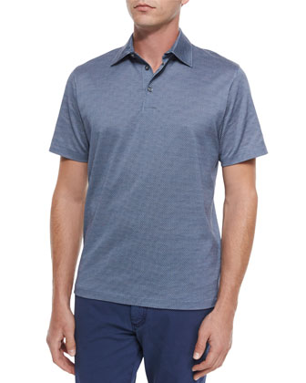 Circle-Print Short-Sleeve Polo Shirt & Five-Pocket Slim-Fit Denim Jeans