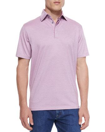 1x1 Knit Polo Shirt & Slim Fit Stretch-Denim Jeans