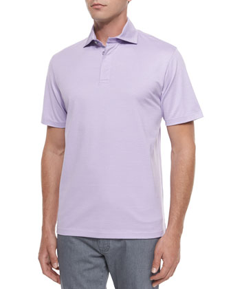 Short-Sleeve Polo Shirt, Purple