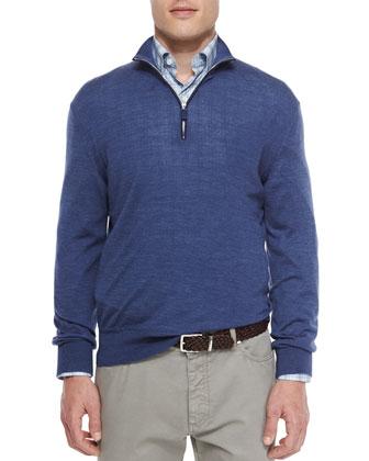 Wool-Blend Quarter-Zip Pullover, Blue