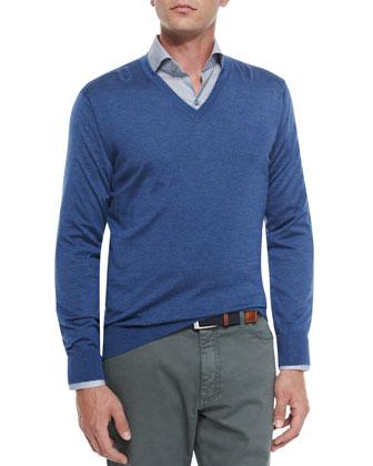 Four-Pocket Quilted Safari Jacket, Cashmere-Blend V-Neck Sweater & ...