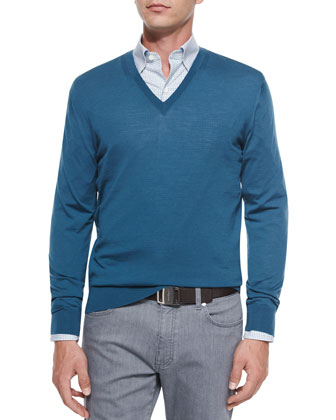 High-Performance Wool Sweater, Tattersall Woven Sport Shirt & Slim-Fit ...