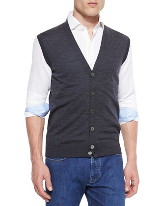 High-Performance Wool Vest, Dark Gray