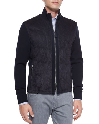 Suede-Front Quilted Jacket, Dot & Dobby Stripe Sport Shirt & Slim-Fit Denim ...