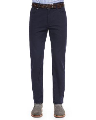 Five-Pocket Twill Pants, Navy