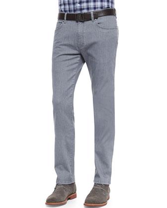 Slim-Fit Denim Jeans, Dark Gray