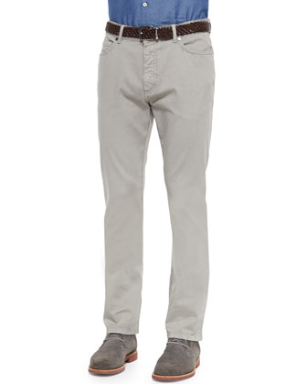 Five-Pocket Straight-Leg Denim Jeans, Putty Gray