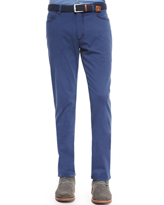 Five-Pocket Straight-Leg Denim Jeans, Navy