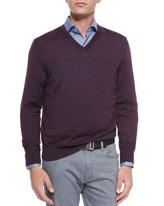 Wool-Blend V-Neck Sweater, Circle-Print Sport Shirt & Slim-Fit Denim Jeans