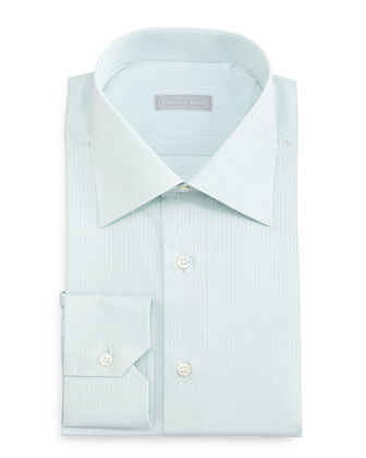 Tonal-Striped Woven Dress Shirt, Mint