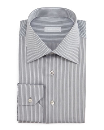 Striped Woven Dress Shirt, Gray