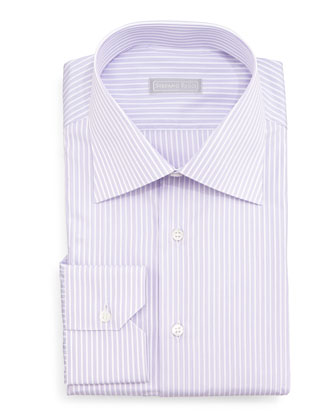 Narrow-Stripe Dress Shirt, Lavender