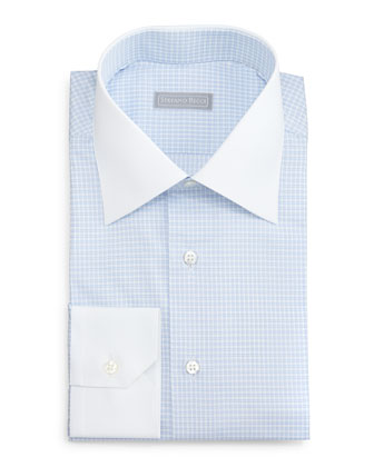 Contrast-Collar Check Dress Shirt, Light Blue