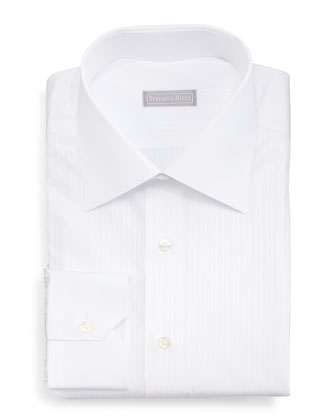 Contrast-Collar Narrow-Stripe Dress Shirt, White