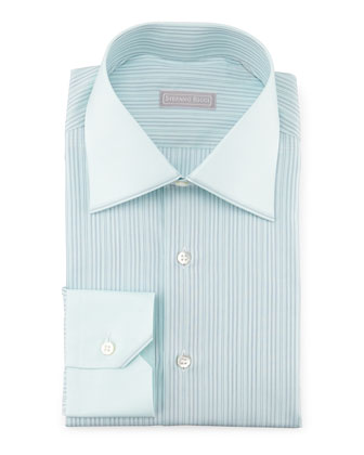Contrast-Collar Striped Dress Shirt, Mint