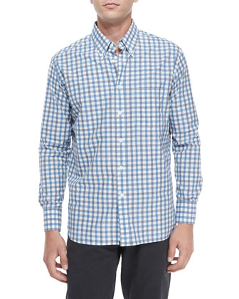 Large Check Long-Sleeve Sport Shirt, Blue Pattern