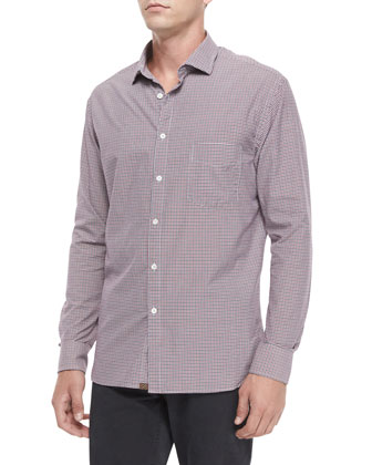Gingham Long-Sleeve Woven Shirt, Red Pattern