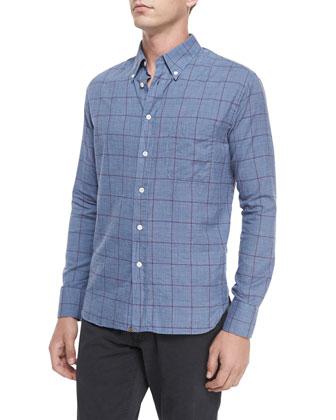 Glen-Plaid Long-Sleeve Sport Shirt, Multi