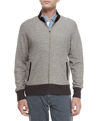 Heathered Track Jacket with Suede Collar & Pensacola Striped Pique Polo ...