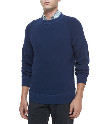 Fisher Crewneck Wool Sweater, Donelson Plaid Short-Sleeve Linen Shirt & ...