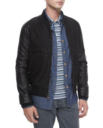 Mixed-Media Leather Bomber Jacket, Tonal-Stripe Woven Denim Shirt, ...