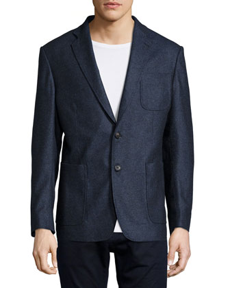 Rustin Lightweight Two-Button Blazer, Gray