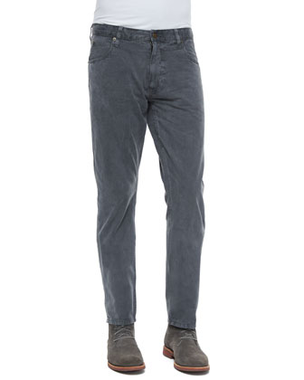 Ashland Five-Pocket Twill Pants, Dark Gray