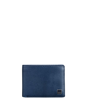 Monaco Textured Leather Bi-Fold Wallet, Cobalt