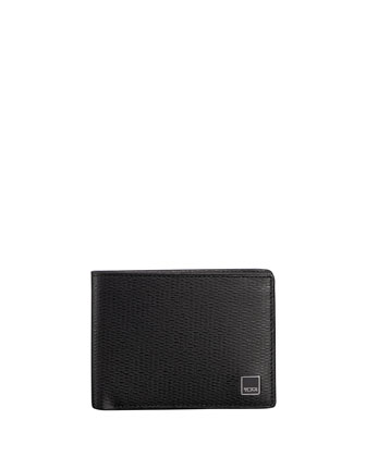 Monaco Textured Leather Bi-Fold Wallet, Black