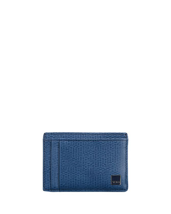 Monaco leather Card Case with Money Clip, Cobalt