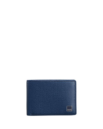 Textured Leather Slim Bi-Fold Wallet, Cobalt