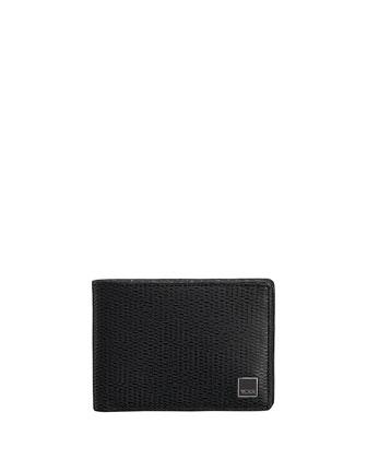 Textured Leather Slim Bi-Fold Wallet, Black