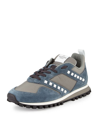 Rockstud Leather & Mesh Trainer Sneaker, Blue
