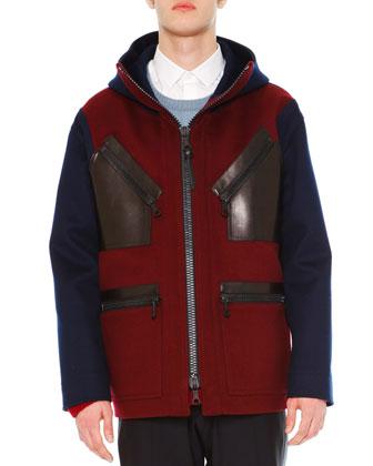 Two-Tone Hooded Wool Coat, Navy/Burgundy
