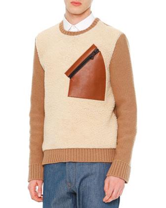 Long-Sleeve Colorblock Sweater, Tan