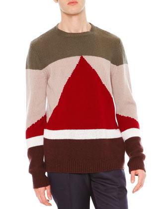 Geo Colorblock Crewneck Cashmere Sweater, Green
