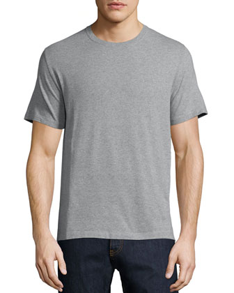 Basic Short-Sleeve Tee with Back Stud, Gray