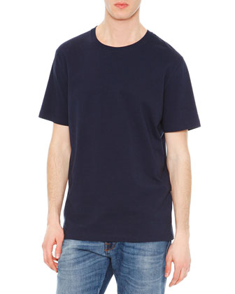 Short-Sleeve Stud-Back T-Shirt, Navy