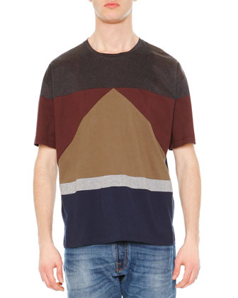 Short-Sleeve Colorblock Tee & Chino-Fit Straight Denim Jeans