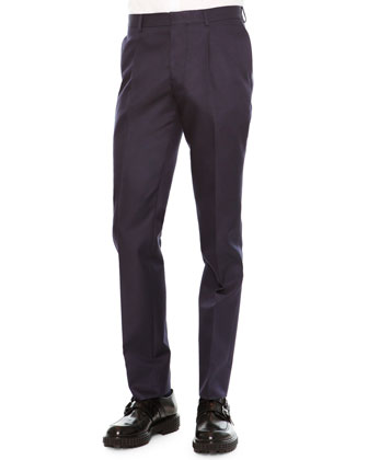 Slim-Fit Wool/Silk Trousers, Navy