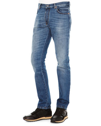 Chino-Fit Straight Denim Jeans, Medium Blue
