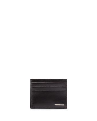 Vitello Leather Card Case, Black