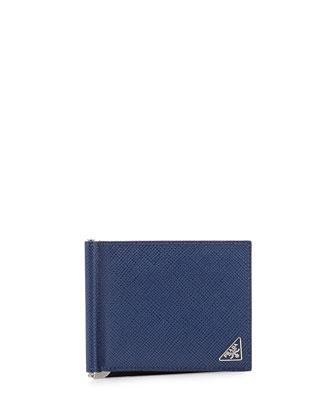 Bicolor Saffiano Leather Card Case w/ Money Clip